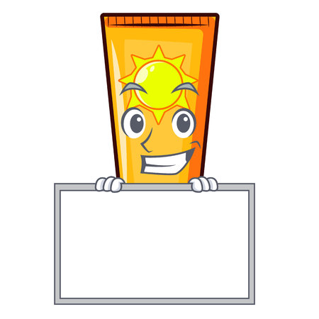 Grinning with board sun cream in the mascot shape vector illustration