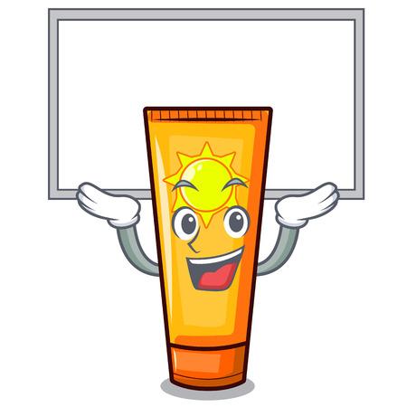 Up board sun cream in the mascot shape vector illustration