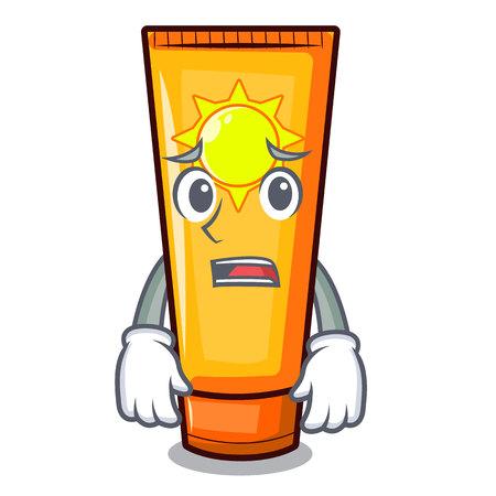 Afraid cartoon sun cream in bag makeup vector illustration