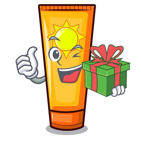 With gift cartoon sun cream in bag makeup vector illustration