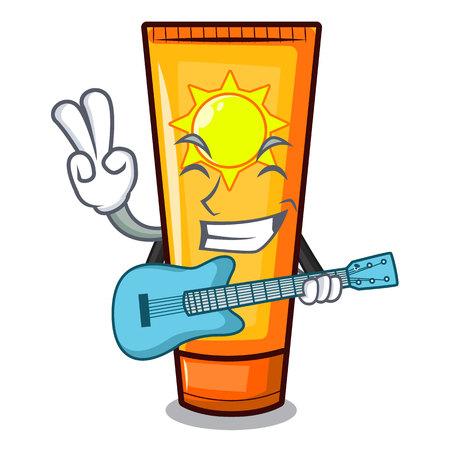 With guitar cartoon sun cream in bag makeup vector illustration