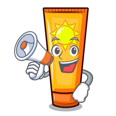 With megaphone sun cream in the mascot shape vector illustration Ilustração