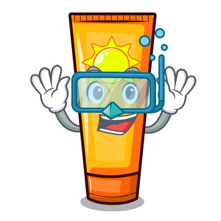 Diving sun cream isolated in the character vector illustration