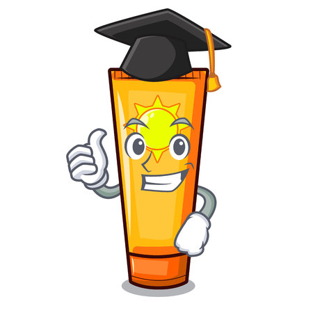 Graduation sun cream isolated in the character vector illustration Ilustração