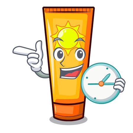 With clock sun cream isolated in the character vector illustration Foto de archivo - 123033971