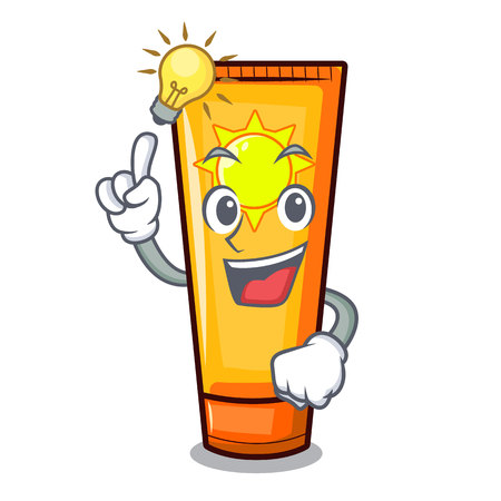 Have an idea sun cream on a cartoon table vector illustration