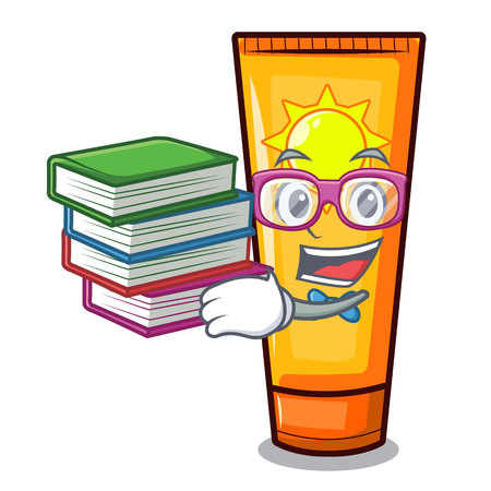 Student with book sun cream on a cartoon table vector illustration