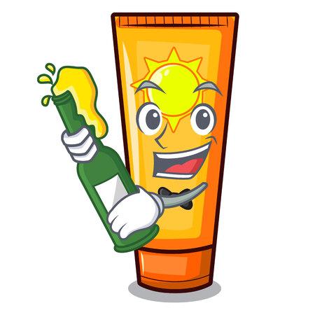 With beer sun cream on a cartoon table vector illustration