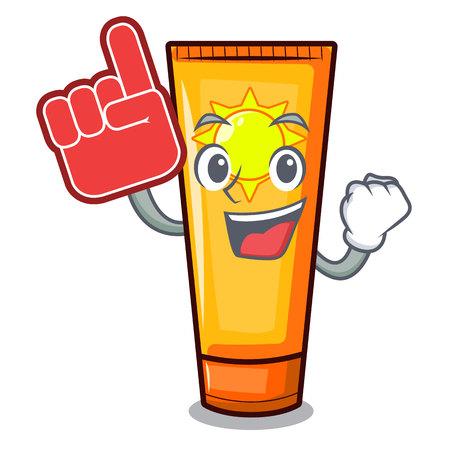 Foam finger sun cream on a cartoon table vector illustration Ilustração