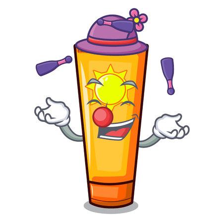 Juggling sun cream on a cartoon table vector illustration Ilustração