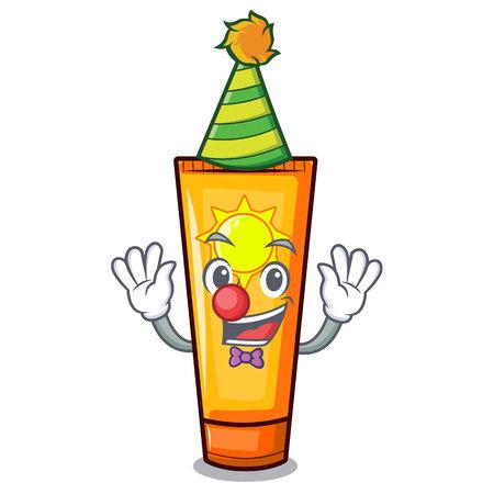 Clown sun cream on a cartoon table vector illustration Ilustração