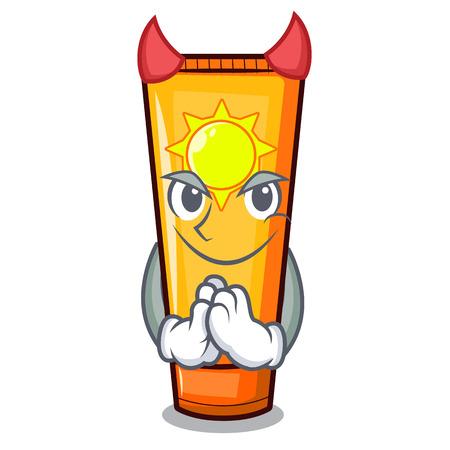 Devil cartoon sun cream in bag makeup vector illustration Illustration