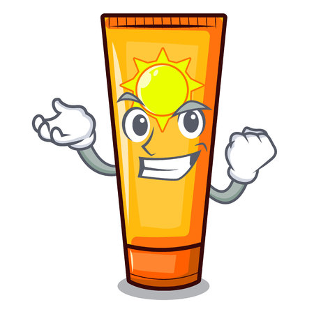 Successful sun cream isolated in the character vector illustration
