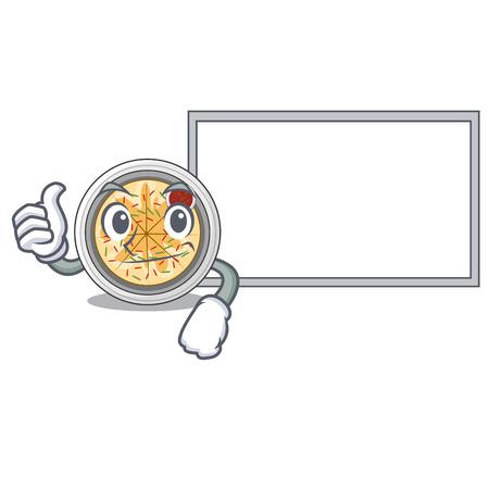 Thumbs up with board buchimgae is served in cartoon bowl vector illustation Ilustração