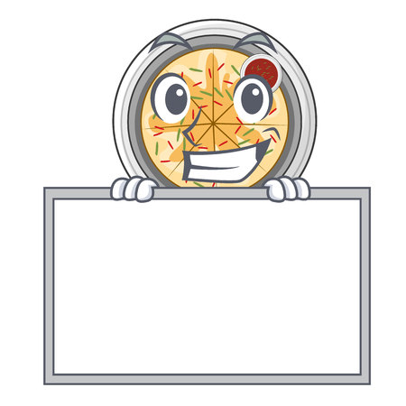 Grinning with board buchimgae is served in cartoon bowl vector illustation Ilustração