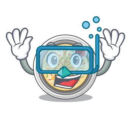 Diving cartoon buchimgae on a in plate vector illustration