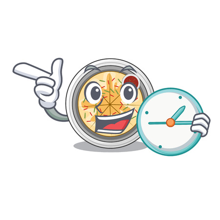With clock cartoon buchimgae on a in plate vector illustration Illustration