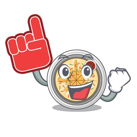 Foam finger buchimgae is fried in character pan vector illustration
