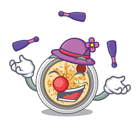 Juggling buchimgae is fried in character pan vector illustration
