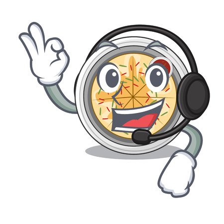 With headphone buchimgae is fried in character pan vector illustration 일러스트