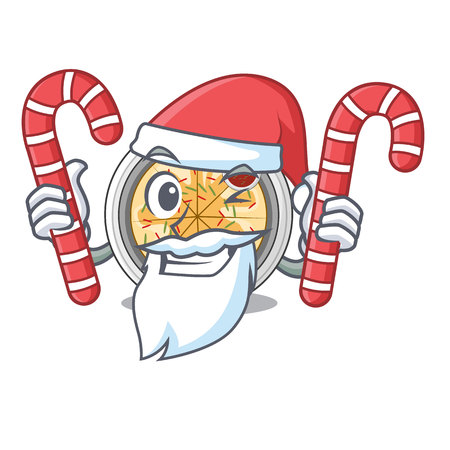 Santa with candy buchimgae is fried in character pan vector illustration Illustration