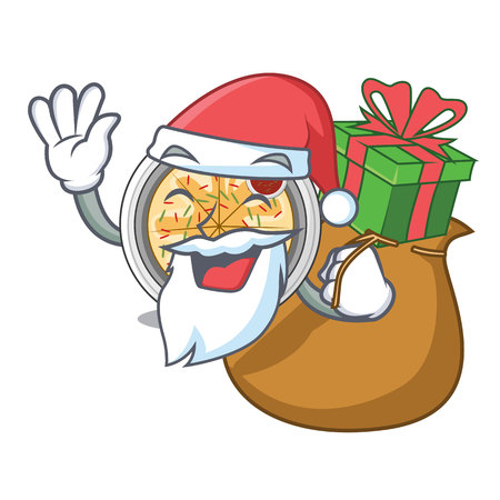 Santa with gift buchimgae is fried in character pan vector illustration