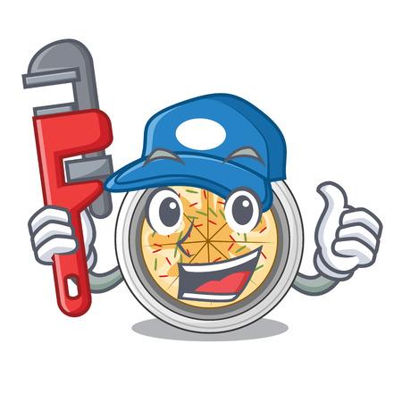 Plumber buchimgae is fried in character pan vector illustration 일러스트