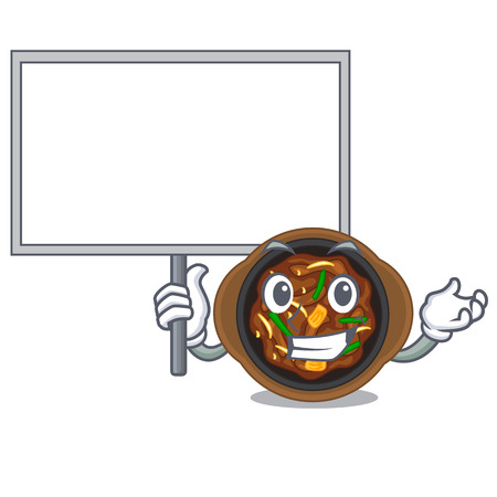 Bring board bulgogi is served on mascot plate vector illustration