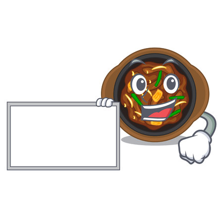With board bulgogi is served on mascot plate vector illustration  イラスト・ベクター素材