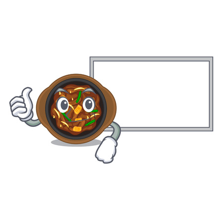 Thumbs up with board bulgogi is served on mascot plate vector illustration