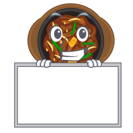 Grinning with board bulgogi is served on mascot plate vector illustration Ilustração