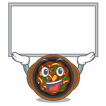 Up board bulgogi is served on mascot plate Illustration