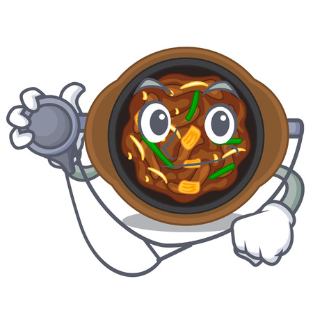 Doctor bulgogi is served on mascot plate vector illustration