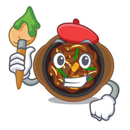 Artist bulgogi is served on mascot plate vector illustration