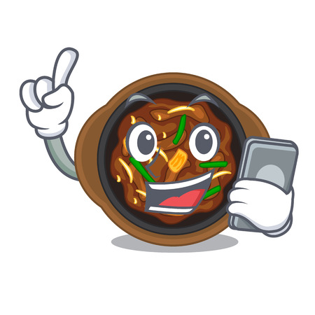 With phone bulgogi is served on mascot plate  イラスト・ベクター素材