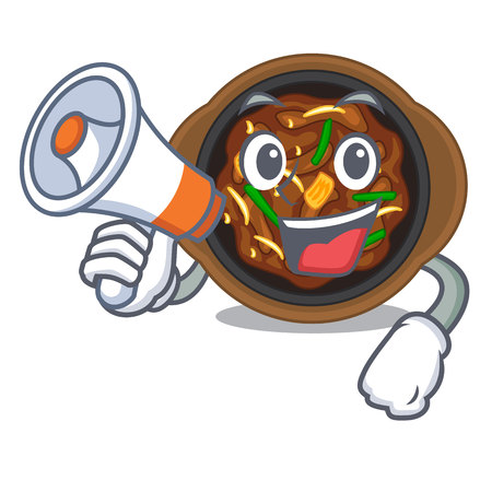 With megaphone bulgogi is served on mascot plate vector illustration