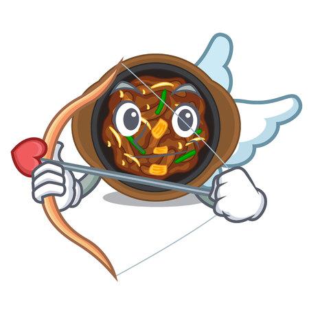 Cupid bulgogi is served on mascot plate vector illustration