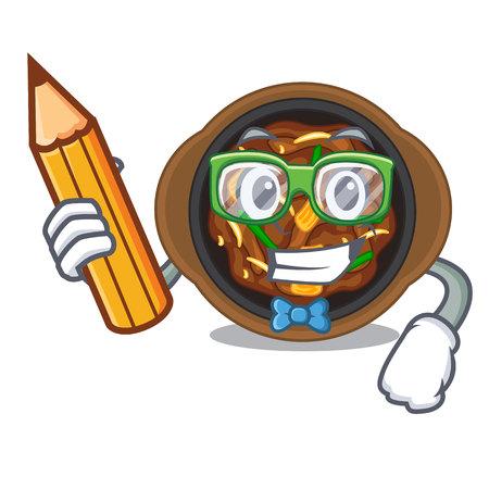 Student bulgogi in a the bowl cartoon vector illustration Illustration