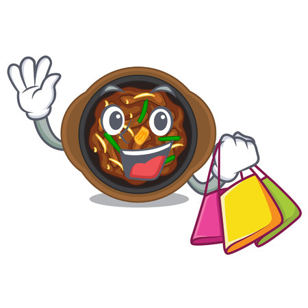 Shopping bulgogi in a the bowl cartoon vector illustration