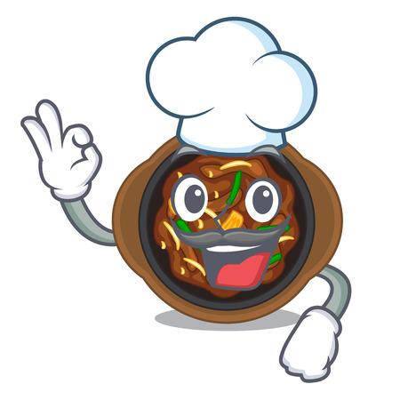 Chef bulgogi in a the bowl cartoon vector illustration