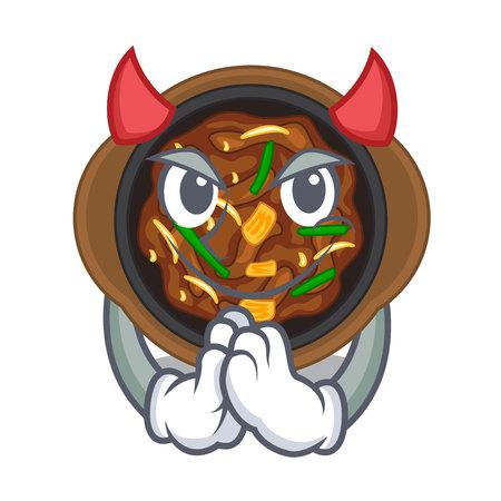 Devil bulgogi in the a cartoon shape vector illustration