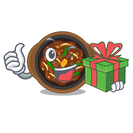 With gift bulgogi in the a cartoon shape vector illustration