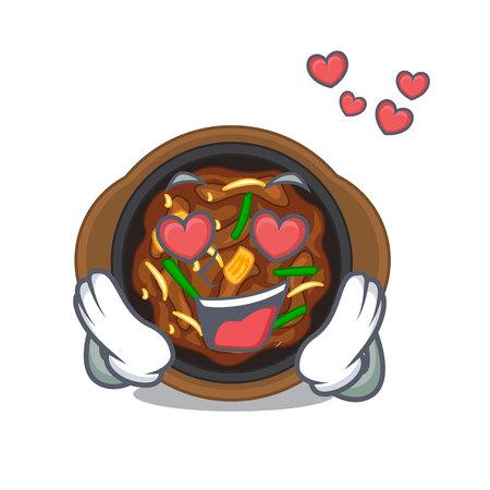 In love bulgogi in the a cartoon shape vector illustration