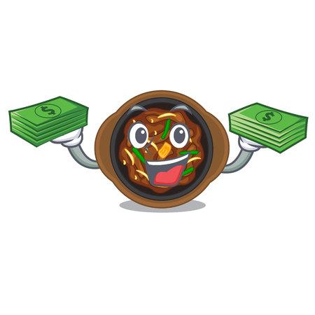 With money bag bulgogi in the a cartoon shape Ilustração