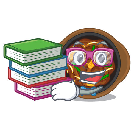 Student with book bulgogi isolated with in the charactervector illustration Vektorové ilustrace