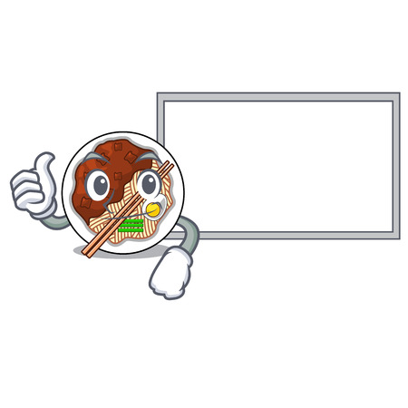 Thumbs up with board jajangmyeon isolated with the a cartoon vector illustration Ilustração
