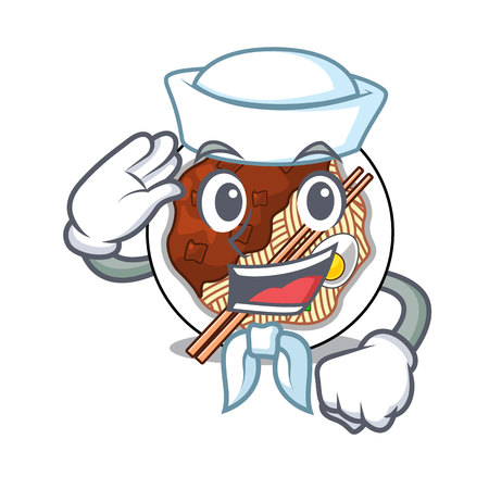 Sailor jajangmyeon isolated with the a cartoon vector illustration