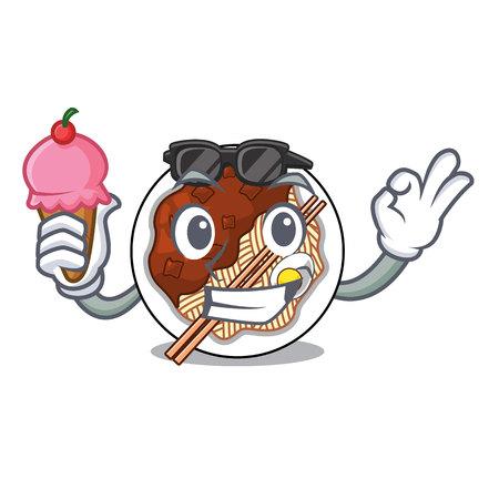 With ice cream jajangmyeon in the a cartoon shape vector illustration