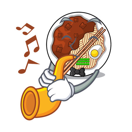 With trumpet jajangmyeon is placed in mascot bowl vector illustration