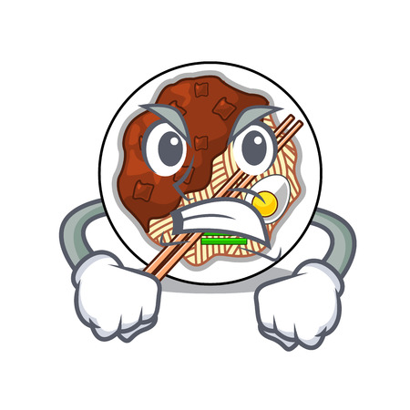 Angry jajangmyeon is placed in mascot bowl vector illustration Vektorové ilustrace